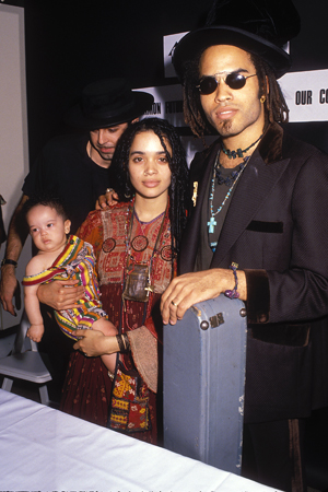 Lenny Kravitz with wife Lisa Bonet and daughter Zoe at a press conference in Lincoln Center, NYC 1989